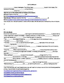 Spelling Webquests