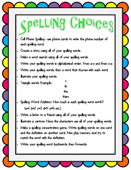 Spelling {Weekly Activities and Homework}