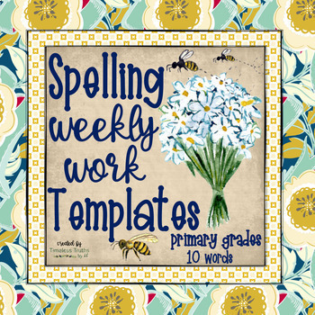 Spelling Word Templates (10 words): Weekly Practice