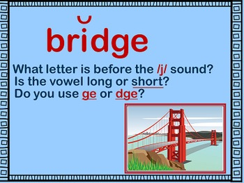 Spelling With dge & ge Power Point and Printables