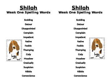 Spelling Word #1 List for Shiloh Novel