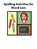 Spelling Word Activities