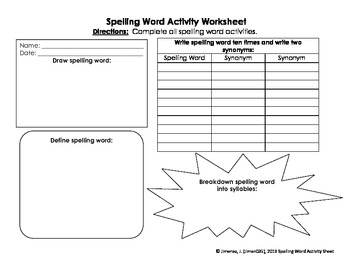 Spelling Word Activity Sheet