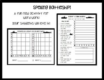 Spelling Word Battleship!