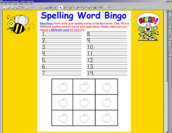 Spelling Word Bingo w/ SMARTBOARD display