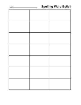 Spelling Word Build Sheet
