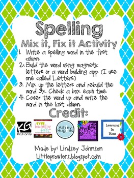Spelling Word Building Activity