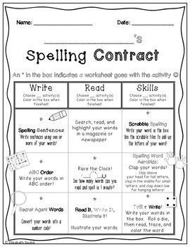 Spelling Word Contract: Homework or Class Activities to Practice Spelling  Words