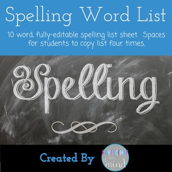 Spelling or Vocabulary Word List
