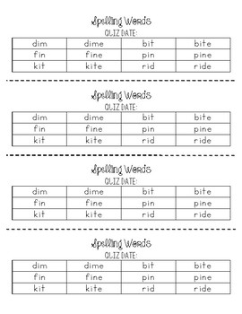 Spelling Word List i_e