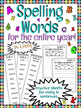 Spelling Word Lists for the Entire year