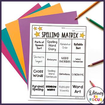 Spelling Word Matrix- Make Learning New Spelling Words Fun!