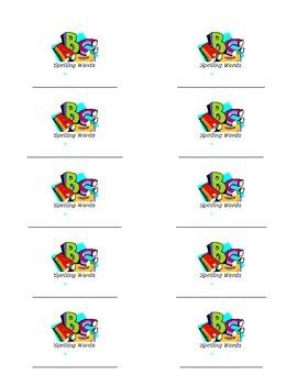 Spelling Word Notebook Labels