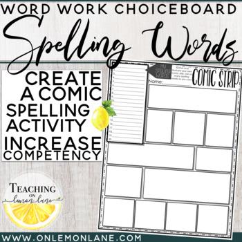 Spelling Word Practice Create Comic Strip
