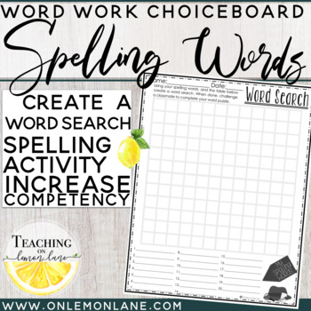 Spelling Word Practice Create Your Own Word Search