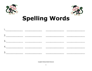 Spelling Word Practice: For 5 Spelling Words