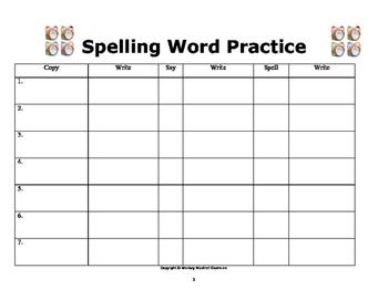 Spelling Word Practice: For 7 Spelling Words