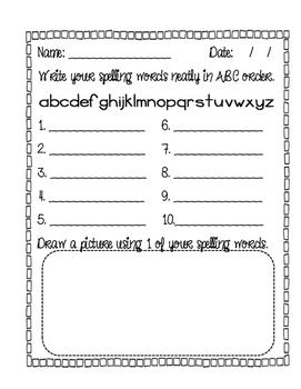 Spelling Word Practice - Freebie