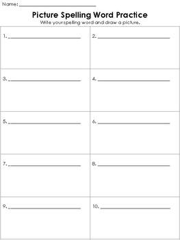 Spelling Word Practice Worksheet