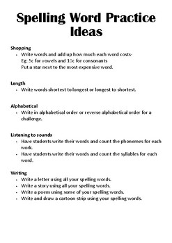 Spelling Word Practise Ideas