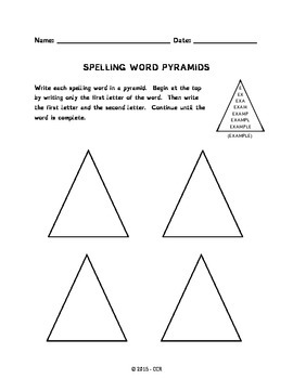 Spelling Word Pyramids Worksheet
