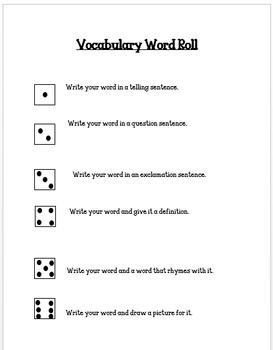 Vocabulary Dice Center Activity