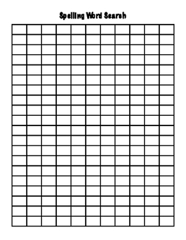 Spelling Word Search Template