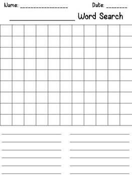 create your own word search template - make your own word search template by megan joy tpt