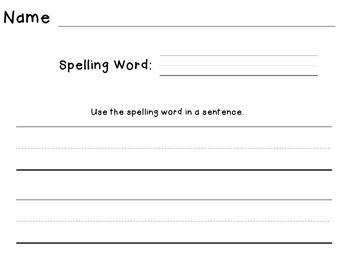 Spelling Word Sentence