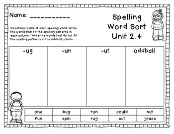 Treasures Unit 2.4 Spelling Word Sort 1st Grade