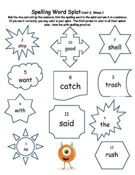 Spelling Word Splat-Reading Street-Grade 1, Unit 2