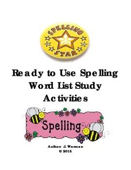 Spelling Word Study Activities Resource