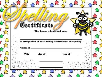 Spelling / Word Study Certificates - Awards - Stars Theme - King Virtue