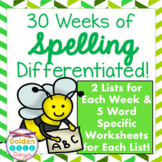 Spelling Word Study One Year 30 Differentiated Units & List Specific Worksheets