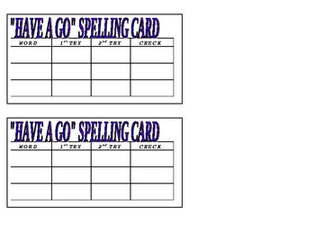 Spelling, Word Study, Have a Go Cards
