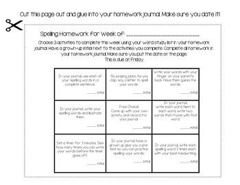Spelling / Word Study Homework Board