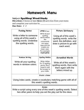 Spelling/Word Study/Reading Homework Menu