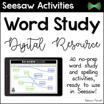 Seesaw Activities - Spelling & Word Work - Digital Resource