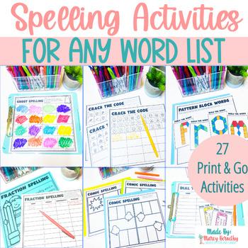 Spelling Word Work Activities