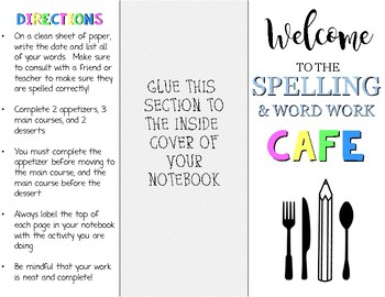 Spelling & Word Work Cafe (Editable)