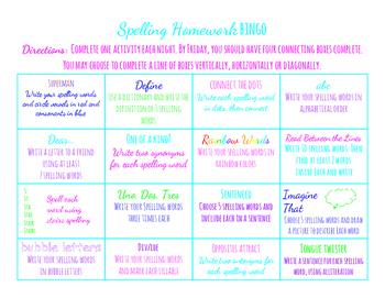 Spelling/Word Work Homework Bingo
