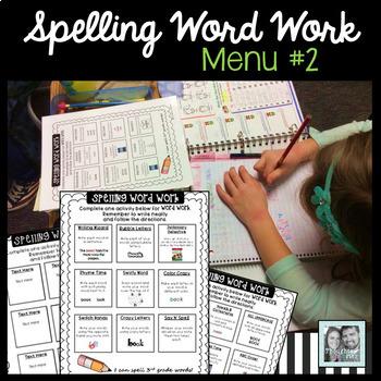 Spelling Word Work Menu 2