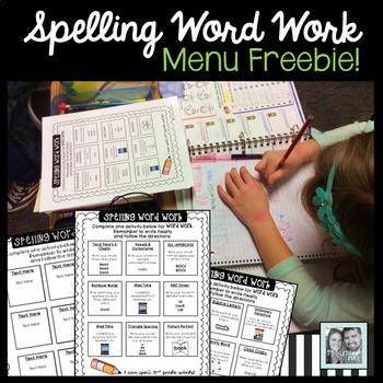 Spelling Word Work Menu
