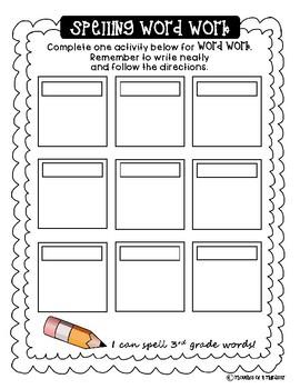 Spelling Word Work Menu (Blank)