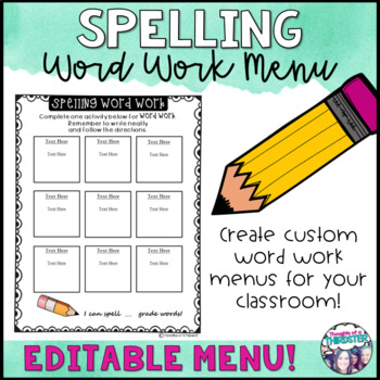 Spelling Word Work Menu Editable