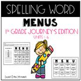 Spelling Word Work Menus - Journey's Edition