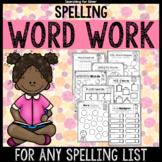 Spelling Word Work Printables