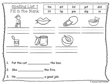 Spelling & Word Work Station Activities List 1 Short i words TEKS Based