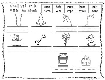 Spelling & Word Work Station Activities List 18 Long O Words -TEKS
