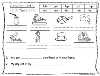 Spelling & Word Work Station Activities List 2 Short a Words TEKS Based